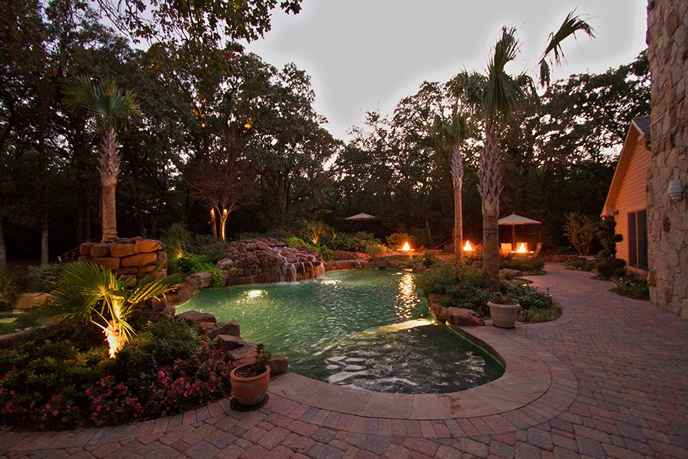 Outdoor Lighting on Pool and Landscape Dallas Landscape